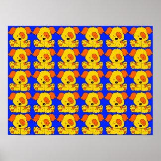 Blått 2 för gult för hundar för affischbarnvalp poster