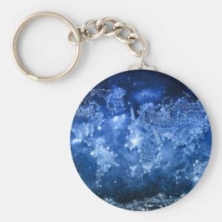 blått 2 för världskartagalax rund nyckelring
