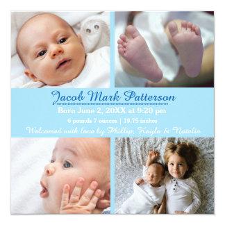 Blått 4 foto - födelsemeddelande fyrkantigt 13,3 cm inbjudningskort