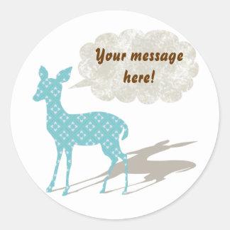 Blått all Bambi - ämna den beställnings- Runda Klistermärken