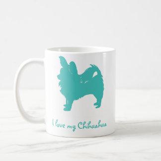 Blått älskar jag min Chihuahua Vit Mugg