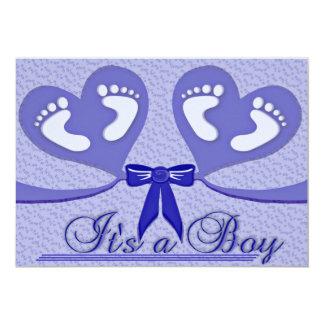 """Blått """"är det för anpassadefödelse för en pojke"""" 12,7 x 17,8 cm inbjudningskort"""