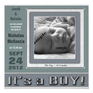 """Blått """"är det för nyfödd bebisfödelse för en fyrkantigt 13,3 cm inbjudningskort"""