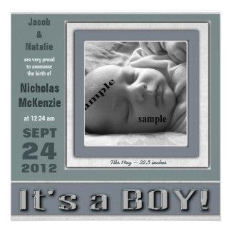 """Blått """"är det för nyfödd bebisfödelse för en POJKE Kort För Inbjudningar"""