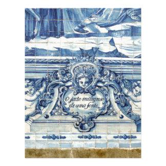 Blått belägger med tegel från Portugal Brevhuvud