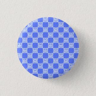Blått belägger med tegel med leenden mini knapp rund 3.2 cm