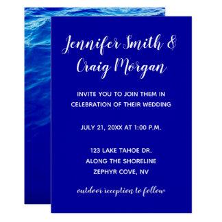 Blått bevattnar modernt Calligraphybröllop 12,7 X 17,8 Cm Inbjudningskort