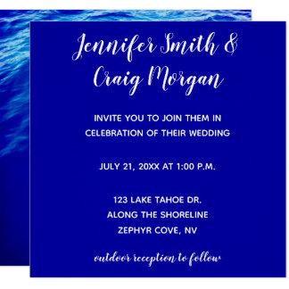 Blått bevattnar modernt Calligraphybröllop Fyrkantigt 13,3 Cm Inbjudningskort