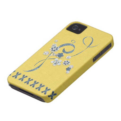 Blått BlackBerryBold för blåklint för Denimtrycksm iPhone 4 Fodraler