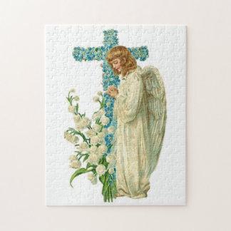 Blått blommad kristenkor pussel
