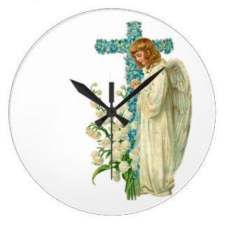 Blått blommad kristenkor stor klocka