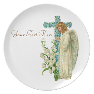 Blått blommad kristenkor tallrik