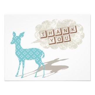 Blått/brunt kort för Bambi lägenhettack Anpassade Inbjudningskort