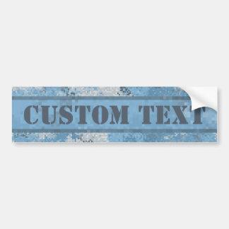 Blått Digi Camo med beställnings- text Bildekal