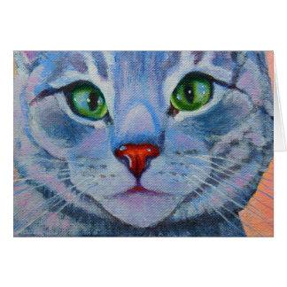 Blått Dora, grå färgtabby katt Hälsningskort