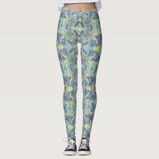 Blått drömm beställnings- damasker leggings