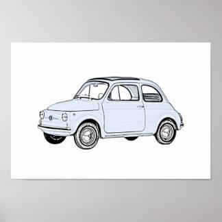 Blått Fiat 500 ritar stiltolkning Poster