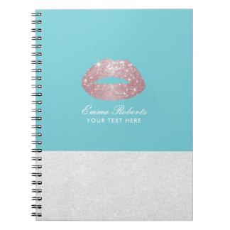 Blått för ägg för modern rosa guld- glitterläppar spiralbundna anteckningsböcker