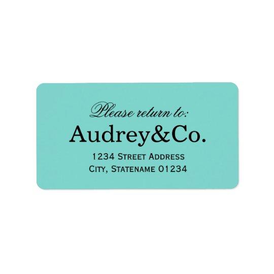 Blått för Aqua för returadressetikett | Adressetikett