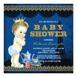 Blått för baby shower för pojkePrince Paris Tea Fyrkantigt 13,3 Cm Inbjudningskort