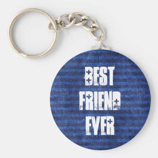 Blått för bästa vän görar randig någonsin rund nyckelring