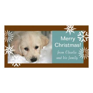 Blått för brunt för kort för foto för snöflingorhu skräddarsydda fotokort