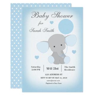 Blått för elefant för pojkebaby showerinbjudan 12,7 x 17,8 cm inbjudningskort