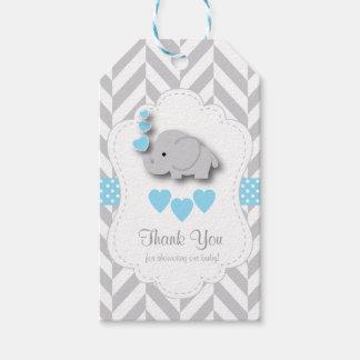Blått för elefantbaby shower för vit grått tack presentetikett