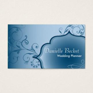Blått för elegant bröllopPlannervisitkorten Visitkort