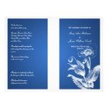 Blått för elegant bröllopprogramvallmo flygblad designs