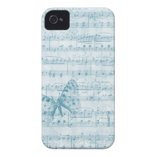 Blått för fjärilsmusikalromantik iPhone 4 Case-Mate skal