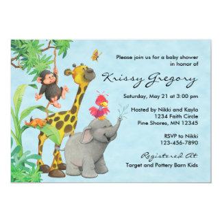 Blått för │ för inbjudningar för djungelbabybaby