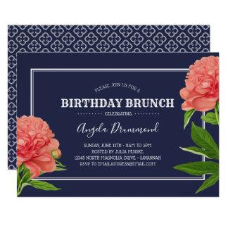 Blått för frunch för pionblommafödelsedag 12,7 x 17,8 cm inbjudningskort