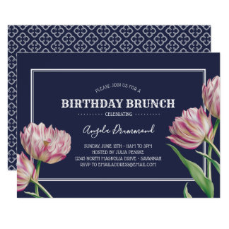 Blått för frunch för tulpanblommafödelsedag 12,7 x 17,8 cm inbjudningskort