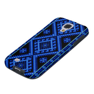 Blått för galax S4 på svart ukrainarekor syr Galaxy S4 Fodral