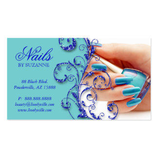 Blått för glitter för nagelsalongvisitkort visitkort