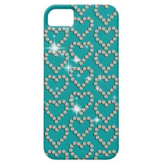 Blått för gnistra för hjärtadiamant flickaktigt iPhone 5 skydd