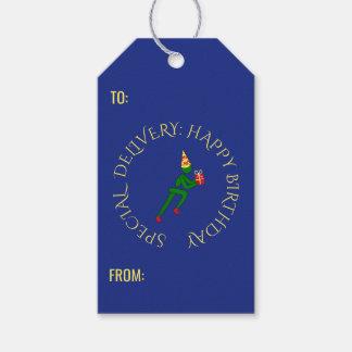 Blått för grönt för text för födelsedagidrottsman presentetikett