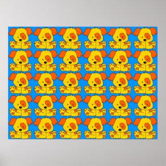 Blått för gult för hundar för affischbarnvalp affisch
