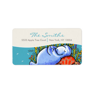 Manatee Sea Turtle Fishes Sea Blue