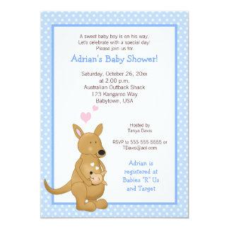 Blått för inbjudan för kängurupojkebaby shower