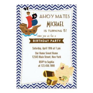 Blått för inbjudan för piratfraktfödelsedag
