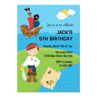 Blått för inbjudan för piratpojkefödelsedag