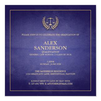 Blått för juridisk fakultetstudentenmeddelande | fyrkantigt 13,3 cm inbjudningskort