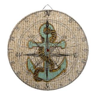 blått för kompass för chic burlap för boho ankrar darttavla