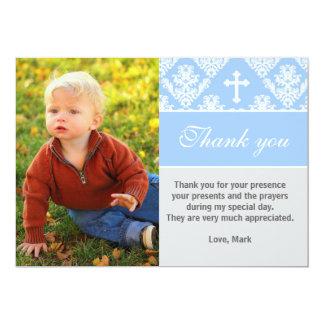 Blått för kort för foto för doptackkort 12,7 x 17,8 cm inbjudningskort