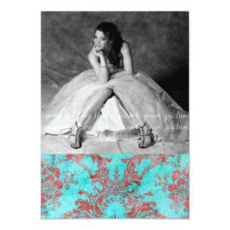 Blått för kort för foto för party för 12,7 x 17,8 cm inbjudningskort