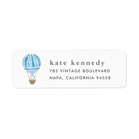 Blått för luftballongreturadressetikett | returadress etikett