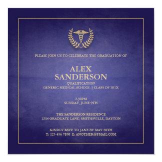 Blått för medicinsk fakultetstudentenmeddelande | fyrkantigt 13,3 cm inbjudningskort