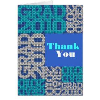 Blått för mönster för studententackkort hälsnings kort